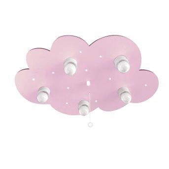 Waldi Fucheje Lampa Sufitowa Biały, Różowy, 5-punktowe